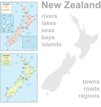 Detailed map of New Zealand. 向量圖像