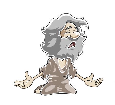 Arrodillado pobre anciano llorando y suplicando.