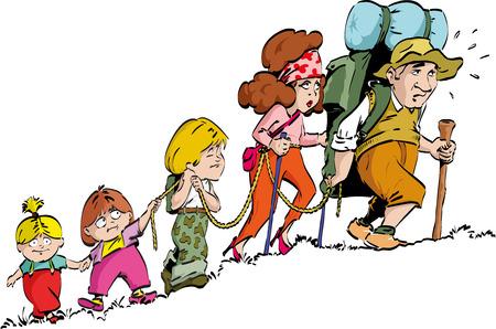 hiking: Hiking - family Illustration