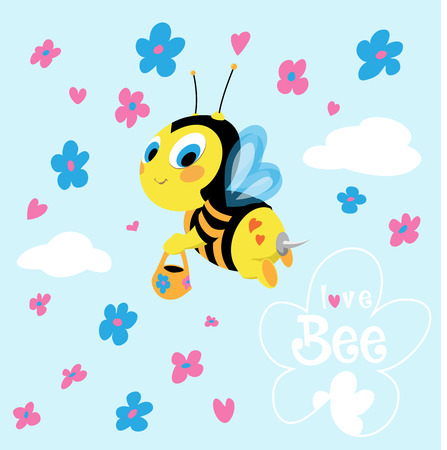 Cute flying bee collects honey.