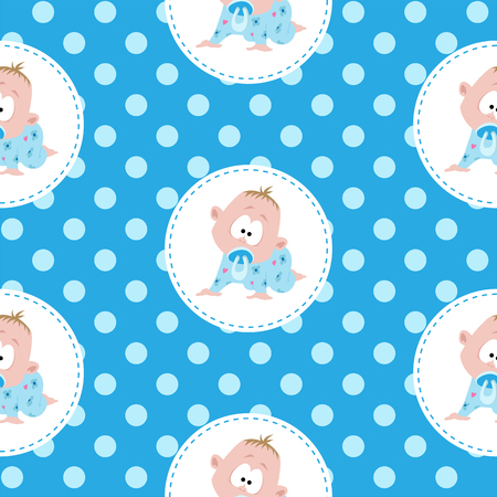 fictional character: Cute little baby pattern Illustration