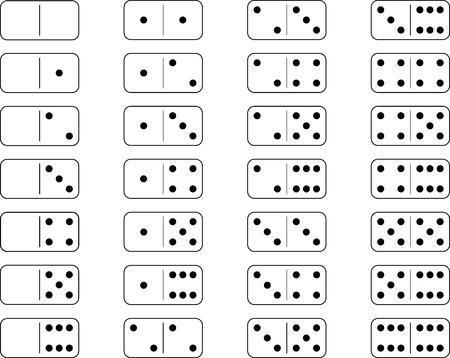 brettspiel: Domino Set Brettspiel mit wei�em Hintergrund Illustration