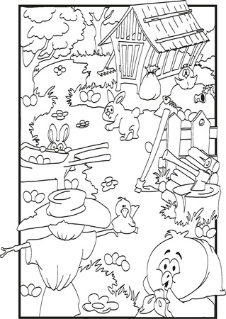 Easter coloring with farm animals and many eggs