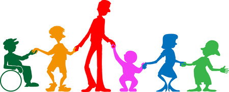 colorful image of a multi-generational family.