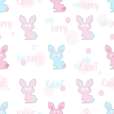 multi: Easter rabbit seamless pattern with multi colored easter bunnies