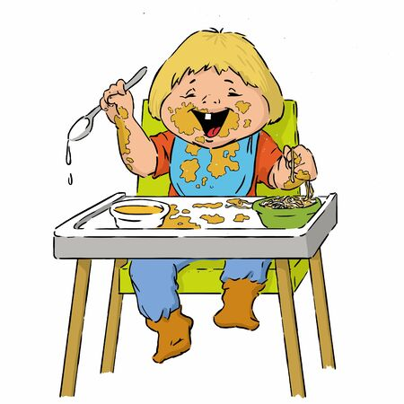 snotty: Two-year-old boy cartoon is having pasta in a high chair using spoon- illustration.