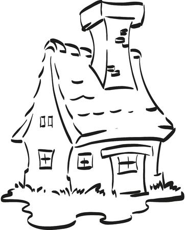 Fairy Haus. Schöne Fee-Häuschen Mit Einem Großen Kamin. Malvorlage ...