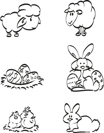 paschal lamb: Easter symbol icons. Illustration