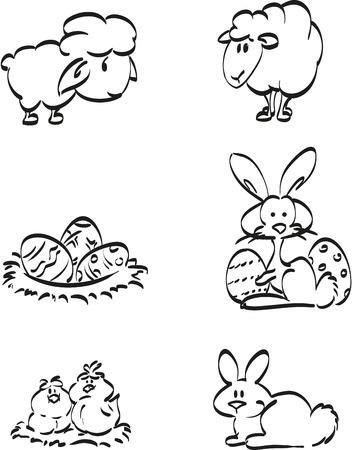 rnart: Easter symbol icons. Illustration