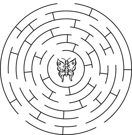 illustration technique: Butterfly labyrinth, maze. For children.