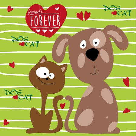 undomesticated: Cat and dog friendship illustration.