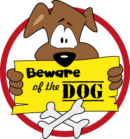 chien: Beware of the dog illustration.