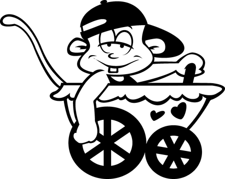 A very loose baby in a pram driving.