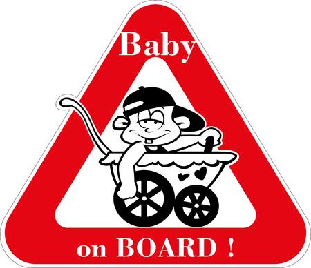 Autoaufkleber Warntafel - Baby an Bord Vektor. Eine lustige Warnschild mit einem sehr lockeren Baby in einem Kinderwagen fahren.
