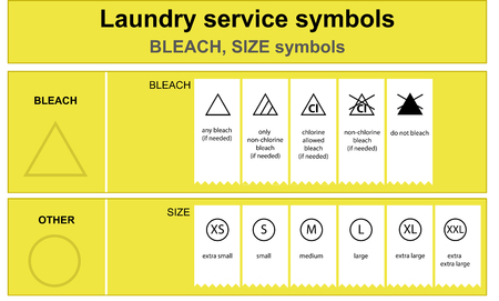 Laundry service bleach and size icon set