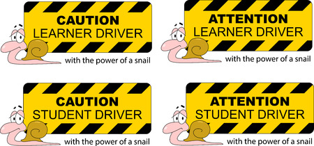 Student driver on board. Warning board hurt student driving slowly like a snail. Ilustrace
