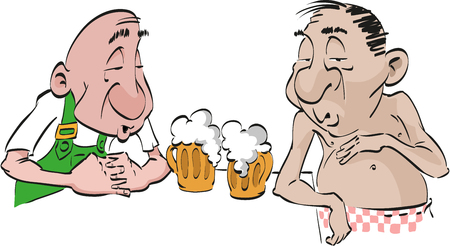 Drunk men with two frothy drinks. Illustration