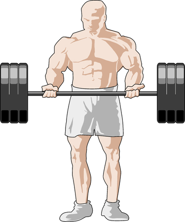 Bicep exercise with barbell 向量圖像