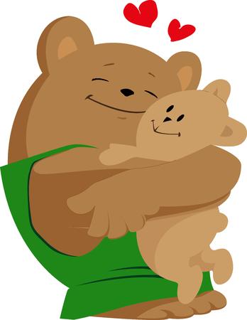Bear hugging his teddy bear illustration. 向量圖像