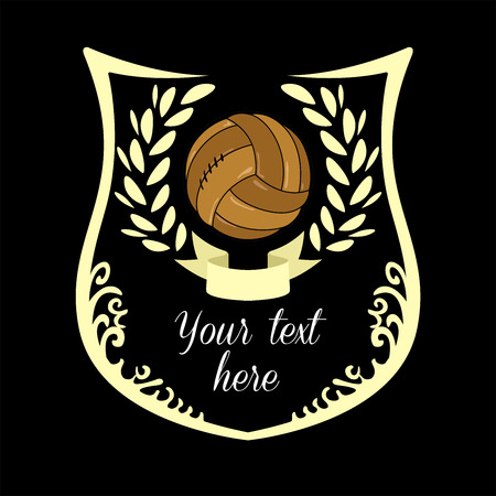 Soccer emblem with old soccer ball