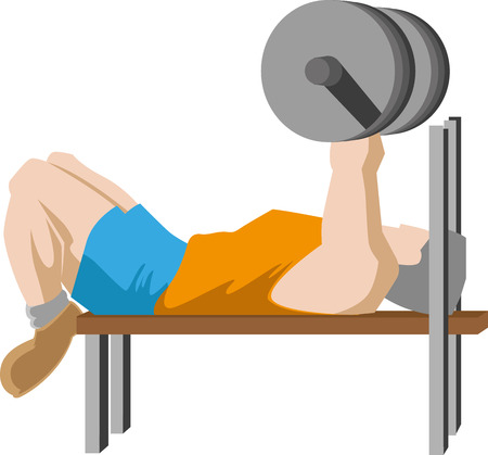 Young man doing bench press workout