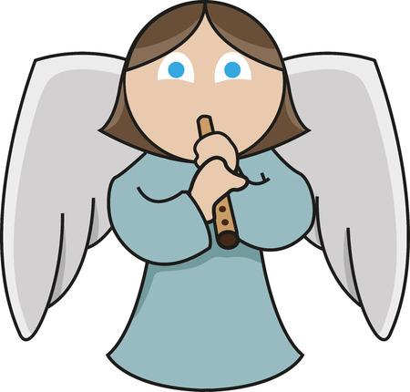 Recorder player angel Illustration