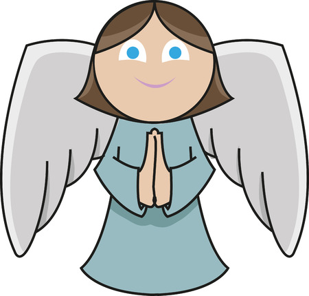 even the cute little angel praying with a smile in her face 向量圖像