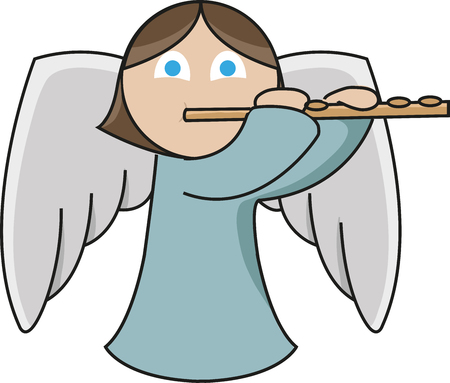 A cute little angel is playing the flute emphatically