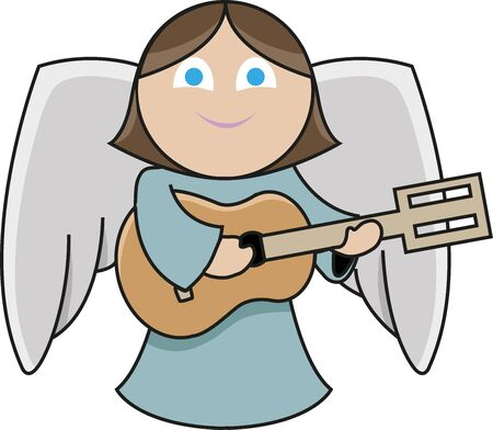 even the cute little angel playing guitar with a great smile on her face