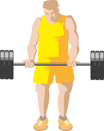 Muscular young boy do biceps exercise with barbell