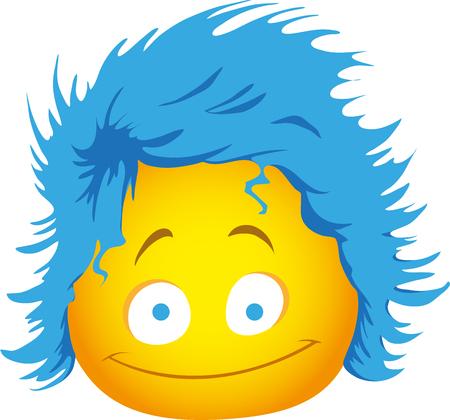 Funny emoji with shaggy hair