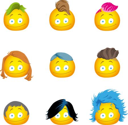Hairy emoji with several hairstyles 向量圖像