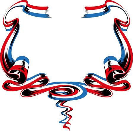 Hand drawn french vector ribbons