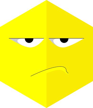 Hexagonal angry emoji icon