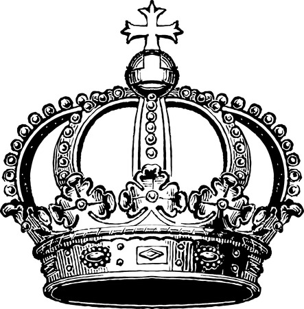 A black and white linear  crown illustration.