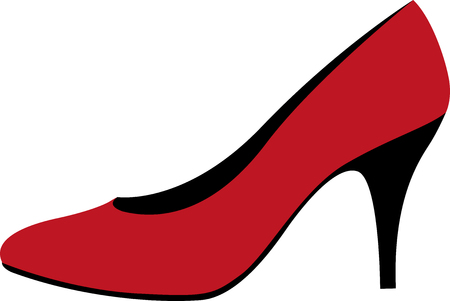 Red high-heeled shoes illustration.