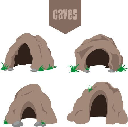 Simple cave entrance icons set with some grass