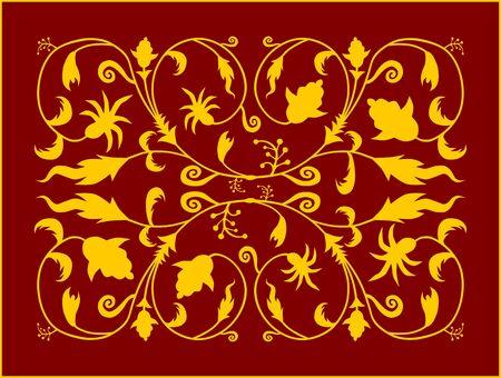 Vegetable pattern modeled on early medieval art  Illustration