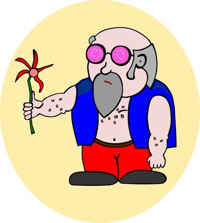 Aging hippie with a flower, easy to add to a larger composition, with no gradients  Vector