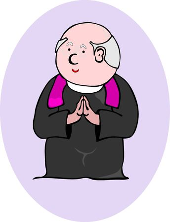 Comic figure of the priest, without gradients, suitable for a larger composition  Vector