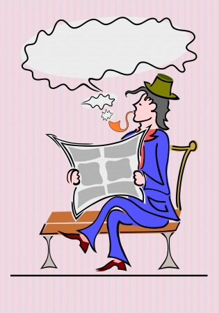 A gentleman reading a newspaper, without gradients  Vector