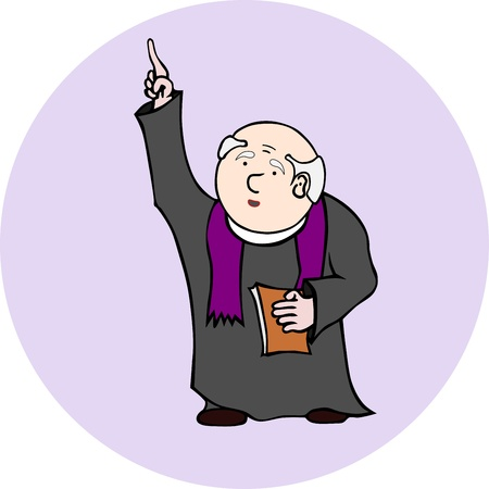A priest holding a book and pointing to the sky  Easy to add to the greater of the composition, without gradients  Vector