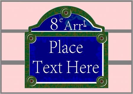 Tradicional placa París con el nombre de la calle, sin degradados, óxido y las manchas de la posible eliminación fácil Foto de archivo - 16268125