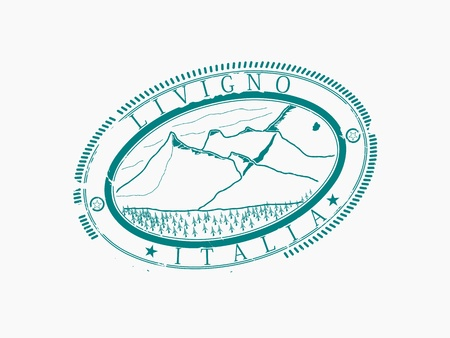 Livigno  Stamp of a ski station  Without gradients, only one color Stock Vector - 16379482