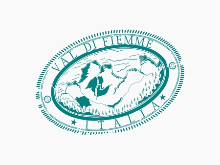 Val di Fiemme  Stamp of a ski station  Without gradients, only one color Stock Vector - 16379486