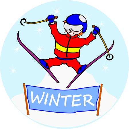 Skier  Without gradients  The figure is easy to place in a different composition, the flag location at any text Stock Vector - 16379488