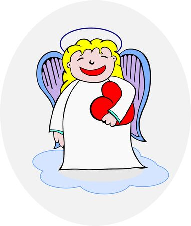 Angel holding heart, without gradients, easy to be added to another composition Stock Vector - 16461157