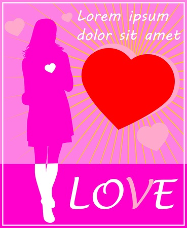 Card with a girl in white boots  You can move any hearts and text  Easy to change colors  Without gradients  Vector