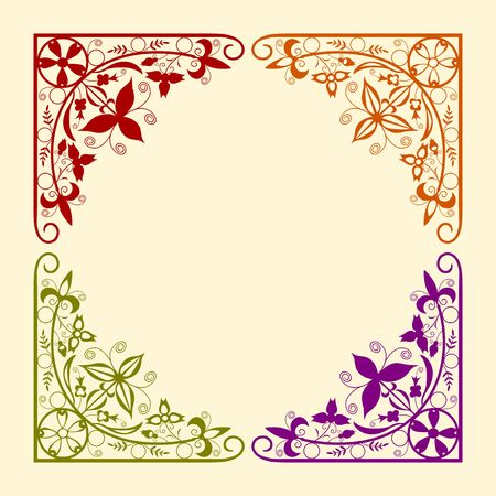 Frame elements with flowers and plants, one color, no gradients  Easy to create any larger designs Stock Vector - 16505350