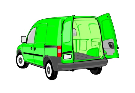 panel van: Van with open back door  Without gradients  Easy to change colors  Space for your own text on the side of the vehicle